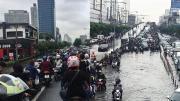น้ำท่วมแยกรัชดา-ลาดพร้าว สาหัส คนแห่จอดรถดู หลังฝนถล่มทั้งคืน